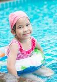 Little cute Asian girl on bikini suit Stock Photo
