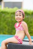 Little cute Asian girl on bikini suit Stock Images