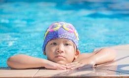 Little cute Asian girl on bikini suit royalty free stock image