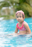 Little cute Asian girl tired to swimming Stock Image