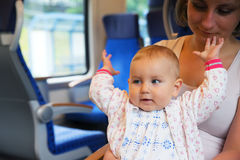 Little cute baby with blue eyes, traveling Royalty Free Stock Photos