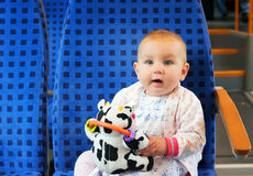 Little cute baby with blue eyes, traveling Royalty Free Stock Images