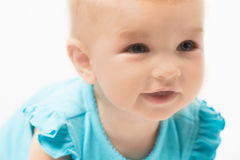 Little cute baby-girl in blue Royalty Free Stock Image