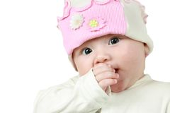 Little cute baby girl isolated on white background. Stock Photo