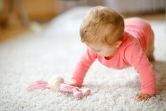 Little cute baby girl learning to crawl. Healthy child crawling in kids room with colorful toys. Back view of baby legs. Cute toddler discovering home and stock images