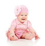 Little cute baby-girl  in pink dress Stock Photos