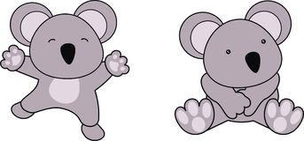 Little cute baby koala cartoon set. In vector format very easy to edit Royalty Free Stock Photo