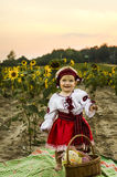 Little cute baby in national dress with sunflower. Stock Photography
