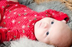 Little cute baby in red Royalty Free Stock Image