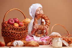 Little cute baker Royalty Free Stock Photo