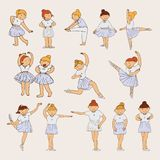 Little cute ballerina girls drawn in pastel colors with various dance steps and emotions.  Stock Photography