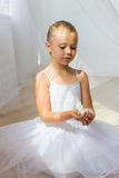 Little cute ballerina with white bird Royalty Free Stock Photography