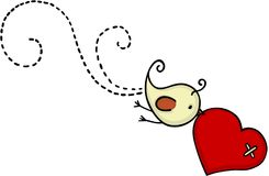 Little cute bird flying with red heart stock illustration