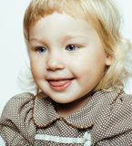 Little cute blonde girl isolated on white background happy smili Royalty Free Stock Photography
