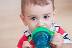 Little cute boy with big eyes, closeup portrait Royalty Free Stock Photography