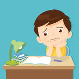 Little cute boy bored homework. Kid boring about something.back to school.cute boy bored homework vector illustration