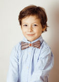 Little cute boy in bowtie smiling stock photography