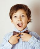 Little cute boy in bowtie smiling, making funny Royalty Free Stock Photography
