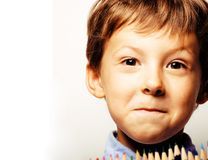 Little cute boy with color pencils close up smiling, education f Stock Photography