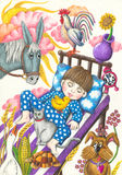 Little cute boy dreaming. Acrylic illustration of little cute boy dreaming Stock Images