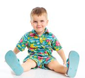 Little cute boy dressed in beach clothes Royalty Free Stock Photography