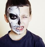 Little cute boy with face paint like skeleton to celebrate hallo stock photos