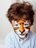Little cute boy with faceart on birthday party Royalty Free Stock Images