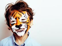 Little cute boy with faceart on birthday party close up, little royalty free stock photos