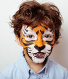 Little cute boy with faceart on birthday party close up, little cute tiger Royalty Free Stock Photo