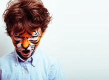 Little cute boy with faceart on birthday party close up, little Stock Photography