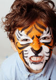 Little cute boy with faceart on birthday party Stock Images