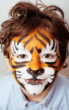 Little cute boy with faceart on birthday party Stock Photography