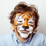 Little cute boy with faceart on birthday party Royalty Free Stock Image