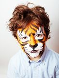 Little cute boy with faceart on birthday party close up, little Royalty Free Stock Image