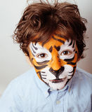 Little cute boy with faceart on birthday party Royalty Free Stock Photography