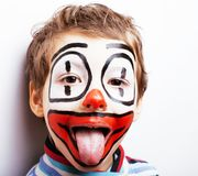 Little cute boy with facepaint like clown, pantomimic expression Royalty Free Stock Photos