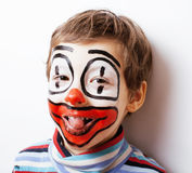 Little cute boy with facepaint like clown, pantomimic expression Stock Images
