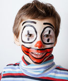 Little cute boy with facepaint like clown Stock Photos