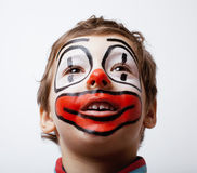 Little cute boy with facepaint like clown Royalty Free Stock Image