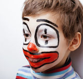 Little cute boy with facepaint like clown Stock Photography