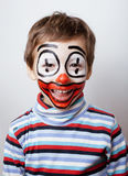 Little cute boy with facepaint like clown, pantomimic expressions close up Royalty Free Stock Photos