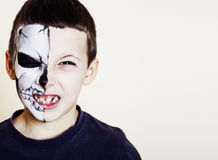 Little cute boy with facepaint like skeleton to celebrate hallow Royalty Free Stock Images