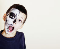 Little cute boy with facepaint like skeleton to celebrate hallow Stock Photography