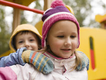 Little cute boy and girl playing outside Royalty Free Stock Photography