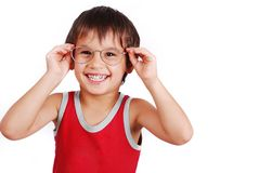 A little cute boy with glasses Royalty Free Stock Photo