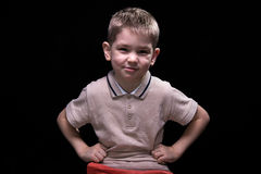 Little cute boy with hands on hips Royalty Free Stock Photos