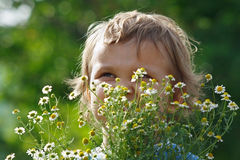 Little cute boy holding a bouquet of daisies Stock Photo