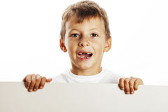 Little cute boy holding empty shit to copyspace isolated close u Stock Image