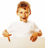 Little cute boy holding empty shit to copyspace isolated close u Stock Images