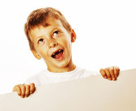 Little cute boy holding empty shit to copyspace isolated close u Stock Photography